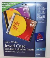 Avery 8693 Cd/dvd Jewel Case Inserts For Ink Jet Printers, White, Pack Of 20