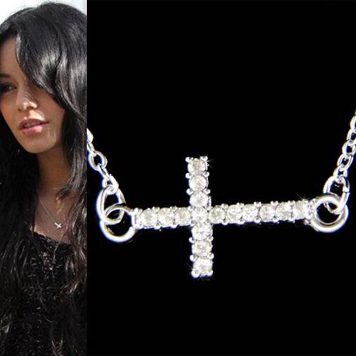 w Swarovski Crystal Sideway CROSS God Lord Jesus Christ Charm Religious Necklace