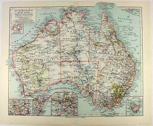 Original 1926 Map of Australia by Meyers