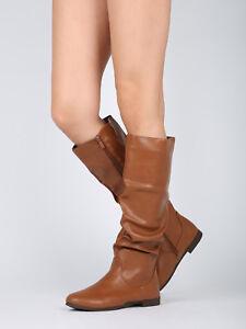 8f9108458005 Women Slouchy Round Toe Low Heel Calf High Riding Boot - 18139   eBay