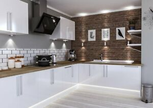 High Gloss Slab White Modern 7 Kitchen Cabinets Price Offer New Ebay