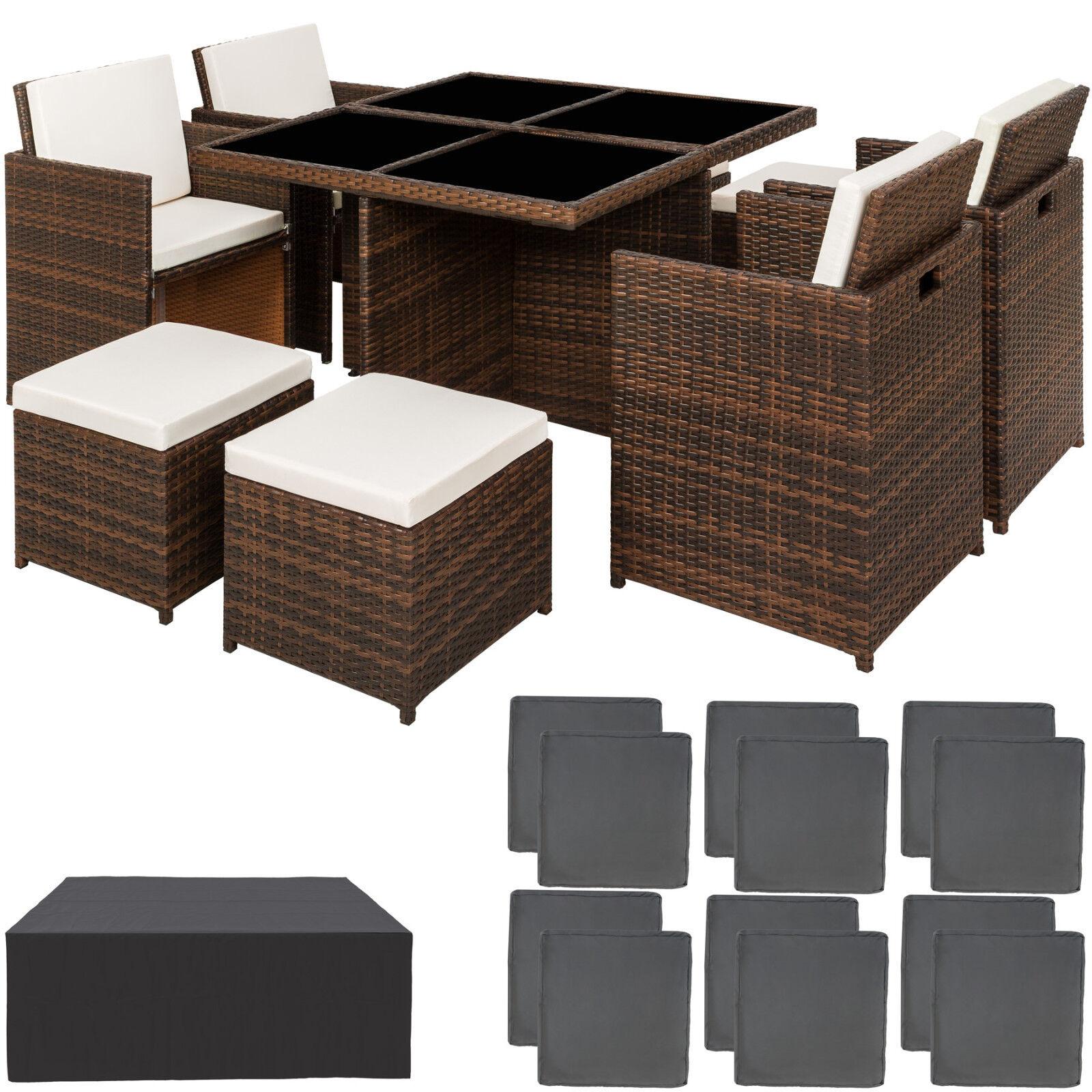 Conjunto muebles de jardín aluminio ratán sintético sillas taburetes mesa