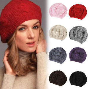 735024c23378f Image is loading Women-Ladies-Beret-Braided-Baggy-Knit-Crochet-Beanie-