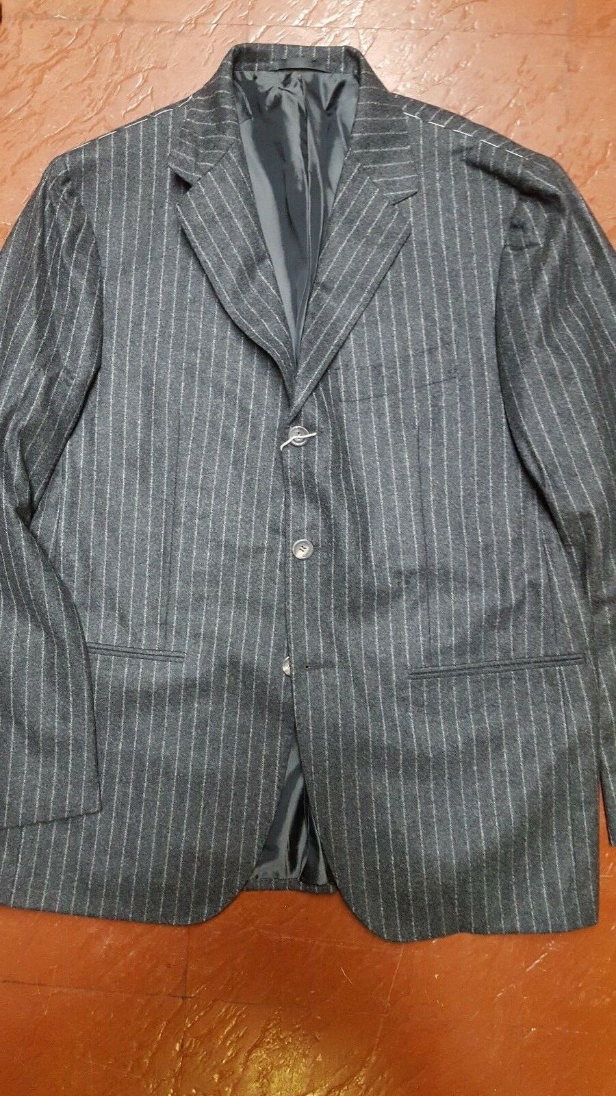 NWT 6000 SARTORIO BY KITON  FULL CANVAS CHALK STRIPED FLANNEL SUIT  42