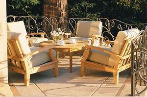 6 Pc Teak Wood Deep Seat Garden Outdoor Patio Sofa Set