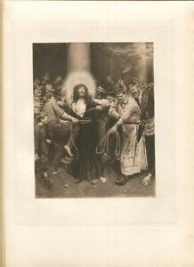 ANTIQUE OUR LORD SAVIOR JESUS CHRIST BOUND TO PILLAR SORROW MOURNING ART PRINT