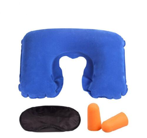 Travel Set 3PCS U-Shaped Inflatable Travel Pillow Eye Cover Earplugs Neck Rest