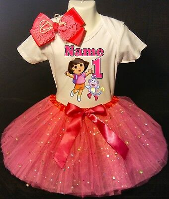 1st Birthday Dress shirt 2pc Fuchsia Tutu outfit -With NAME- Dora the Explorer