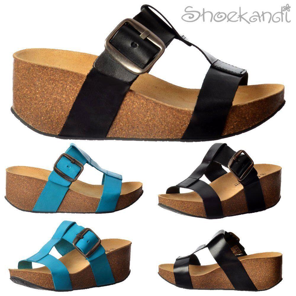 Womens Girls Sweet Vivian Full Leather Flip Flop Wedge Sandals Black Turquoise