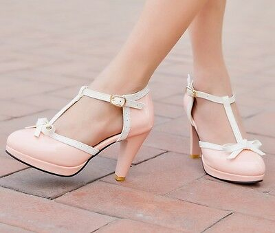 Sweet Lolita Womens Mary Janes T-Strap Bow Tie High Heel Pumps Shoes US4.5-10.5