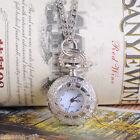 Silver Tone Necklace Chain Quartz Pocket Watch 33-7/8