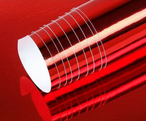 "72/"" x 60/"" Red Chrome Mirror Vinyl Film Wrap Sticker Decal Stretchable 6ft x 5ft"