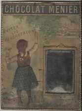 """""""CHOCOLAT MENIER"""" Panneau-cadre miroir en tôle estampée et imprimée 1895 30x40cm"""