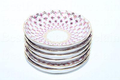 RUSSIAN Imperial Lomonosov Porcelain Set 6 Jam Dishes Bowl Net Blues Dessert