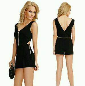 5f5eb490dfc Image is loading GUESS-BY-MARCIANO-VIVIAN-GOLD-CHAIN-ZIPPER-ROMPER