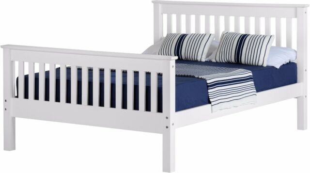 Monaco White Pine Wood High Foot 4ft Small Double Bed White Nextday