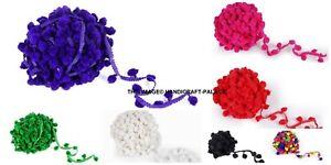 25yds-2cm-Ball-Pom-Pom-Bobble-Trim-Hat-Gimp-Braid-Fringe-Ribbon-Edging-Crafts
