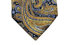 Battisti Tie Navy with yellow/blue paisleys, 7-fold, pure silk