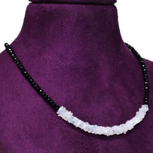50-00-Cts-Earth-Mined-Faceted-Black-Spinel-amp-Moonstone-Beads-Necklace-NK-29E60