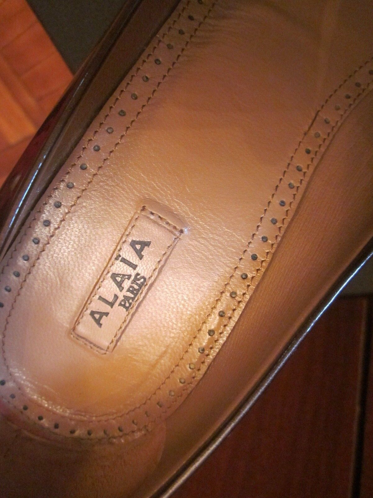 ALAIA PARIS SIZE  MADE IN IN IN ITALY 38 8  HEEL SHOES BEIGE DARK gold NUDE COLOR 12c542