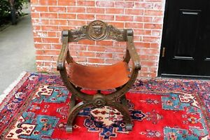 Italian-Renaissance-Savonarla-Walnut-amp-Leather-Arm-Chair