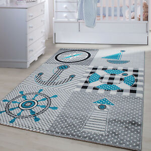 Details zu Kinderteppich Kinderzimmer Babyzimmer Spielteppich Pirat Design  Grau Blau