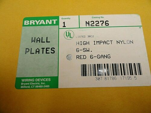 QTY 1 BRYANT RED 6 GANG RECEPTACLE SWITCH COVER PLATE HIGH IMPACT NYLON N2276