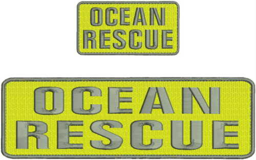 Ocean Rescue embroidery patches 3x10 and 2x4 hook on back yellow and grey