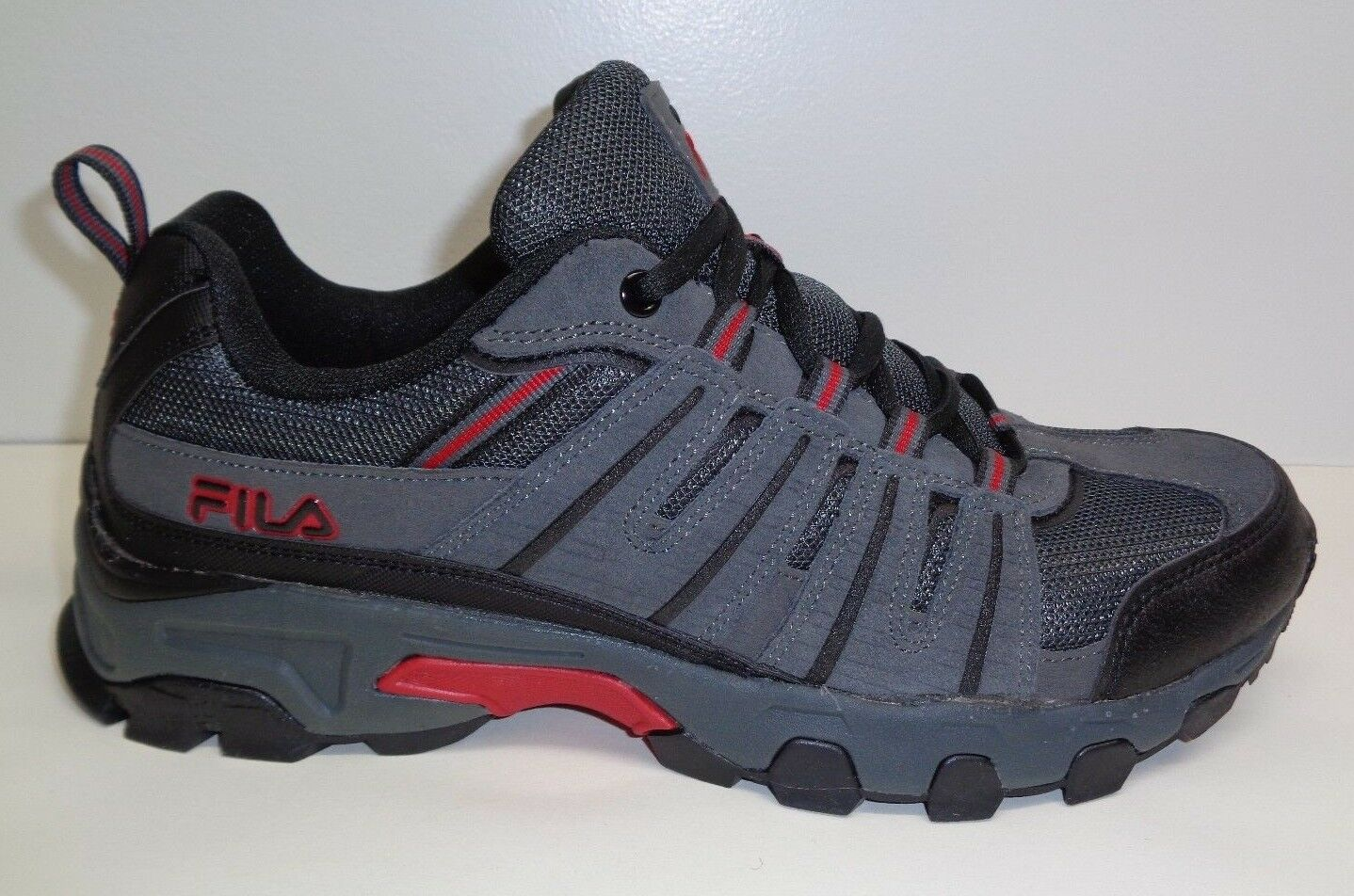 Fila Size 13 WESTMOUNT Grey Black Red Leather Hiking Sneakers New Mens shoes