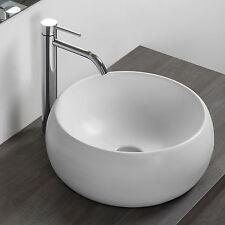 Lavabo bacinella d'appoggio 40 cm tondo in ceramica bianco opaco