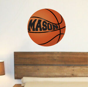 CUSTOM NAME VINYL DECAL WITH REALISTIC BASKETBALL WALL STICKER