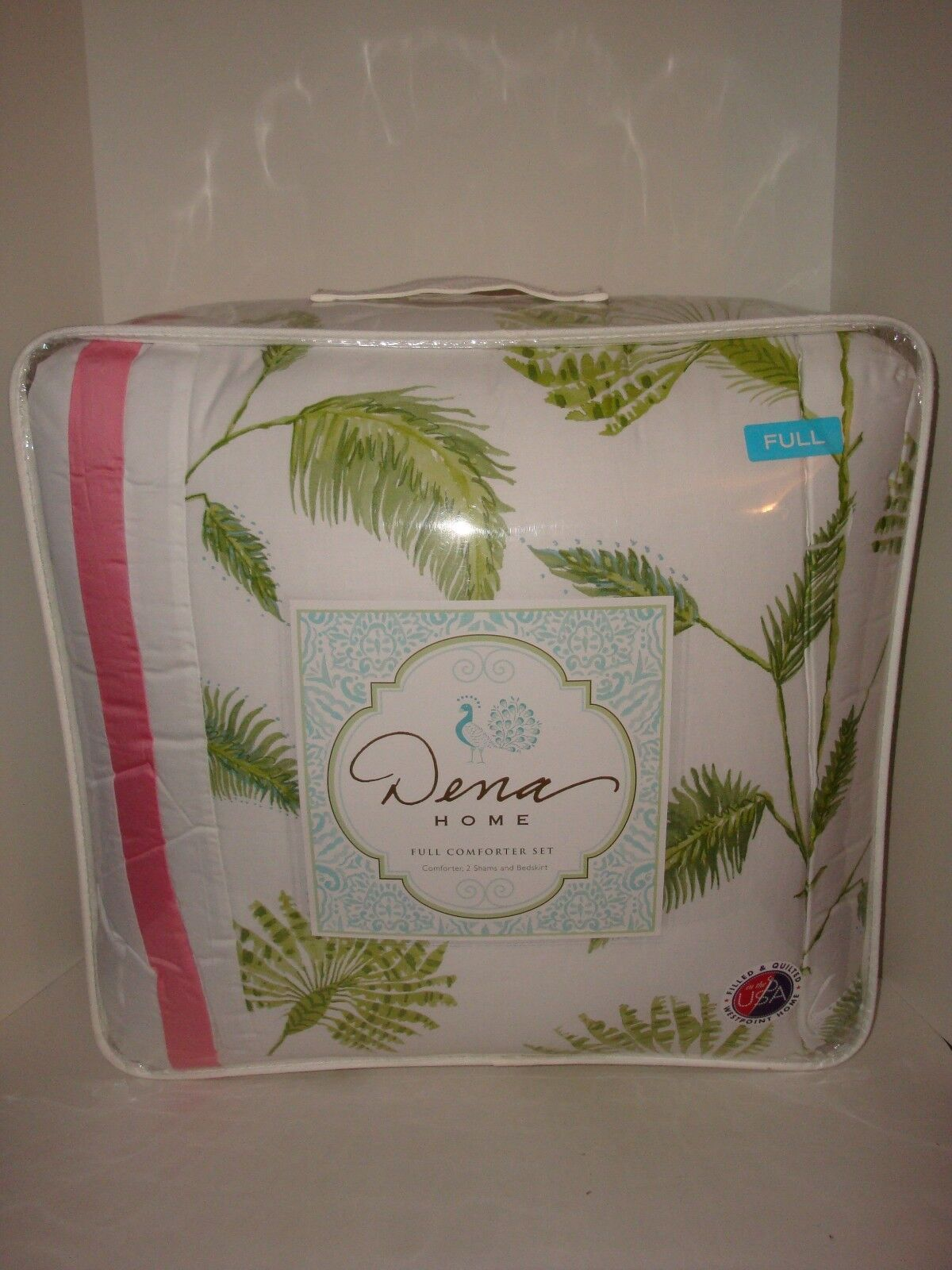 Dena Home 4PC Palm Court Full Comforter Shams Skirt Set NIP Tropical Pink Green