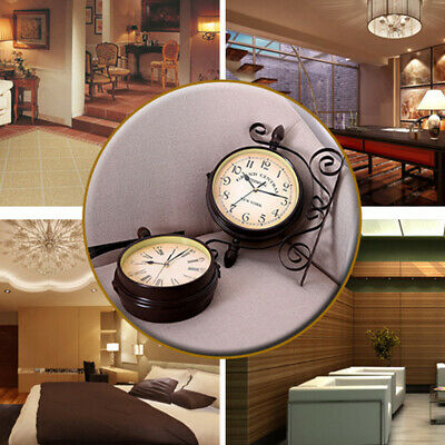 Retro Household Double Sided Wall Mounted Bracket Clock Living Room Decor Ebay