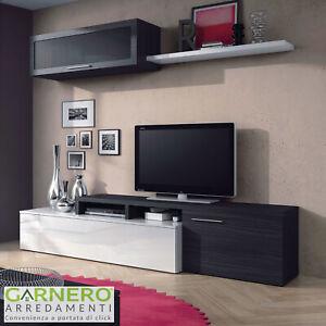 Dettagli su Parete attrezzata CANDY bianco/grigio mobile soggiorno angolo  moderno cassetti