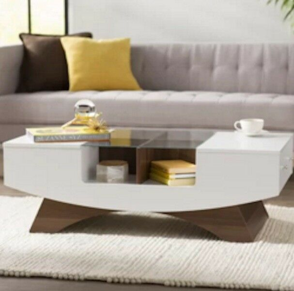 Glass Top Coffee Table White Storage Drawers Modern Retro Accent