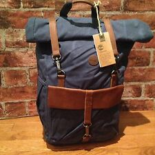 $125 NWT Timberland Walnut Hill 24L Waxed Canvas Roll Top Backpack Navy. NEW*
