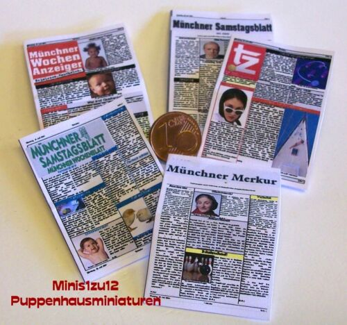 2003# 5 periódicos en miniatura-alemania-casa de muñecas-muñecas Tube-m1zu12