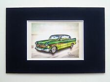 1956 Hudson Hornet Hollywood - Mounted Colour Vintage Car Automobile Print