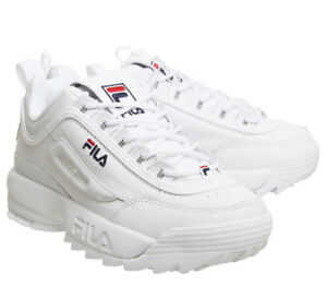 Dettagli su Unisex Originale FILA Disruptor II 2 White Authentic Shoes Size 35-44 Hot