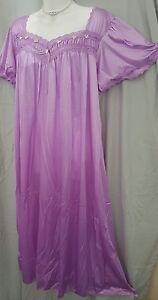 Comfort-Choice-Long-PURPLE-NYLON-NIGHTGOWN-SIZE-LARGE-GIFT-50-034-BUST