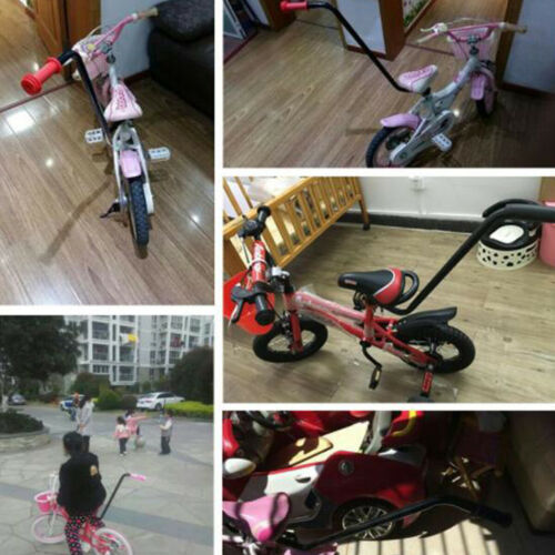 Children Kids Bike Learning Push Grab Handle Learn Bicycle Safety Pole Trainer