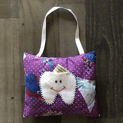 Childrens Tooth Fairy Pillow Ice Queen Print Purple Little Girls Princess