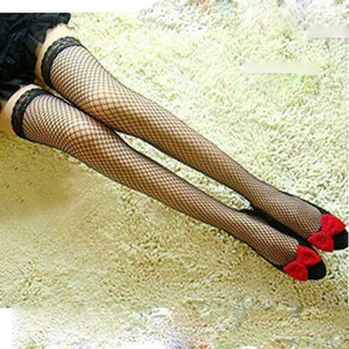 4 Slim Thigh VARIOUS COLOURS Fishnet Thigh High Stockings with Narrow Lace Top