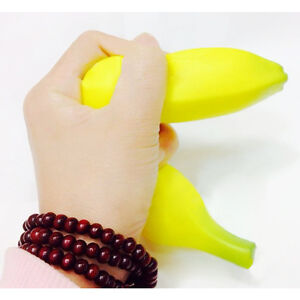 Soft Lifelike Fake PU Banana Straps Food Stress Relief Squeeze Toy Gifts