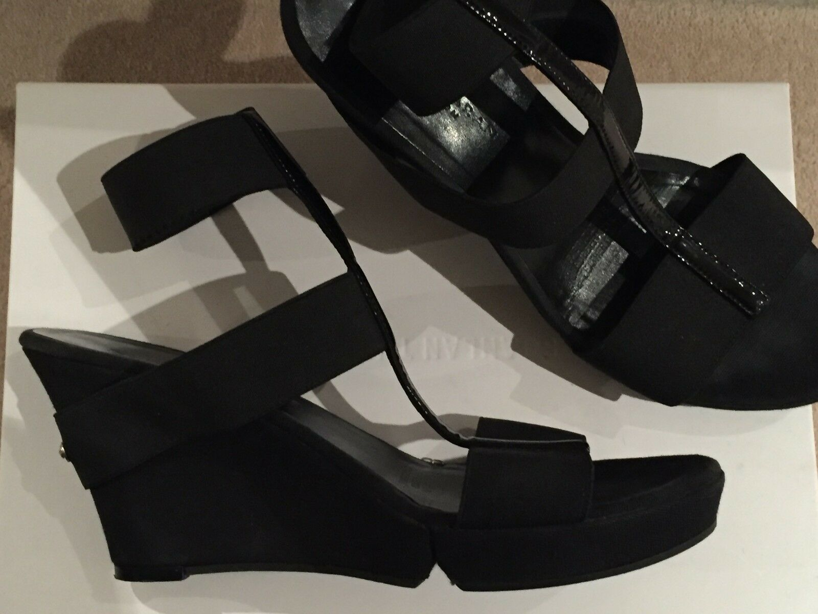 women KARAN Collection Black Leather & Fabric Platform, Wedge Sandals Heels 39