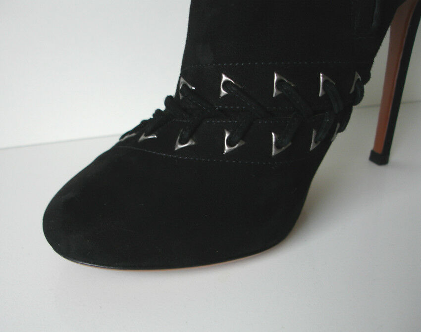 BLACK ALAIA HIGH SUEDE LEATHER DIAGONAL LACED HIGH ALAIA HEEL TALL Stiefel e74204