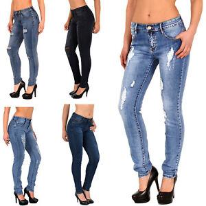 Röhren Damen Zu Stretch Jeans Risse Details Hose Übergröße J312 Bis 50 wXZuliOPkT