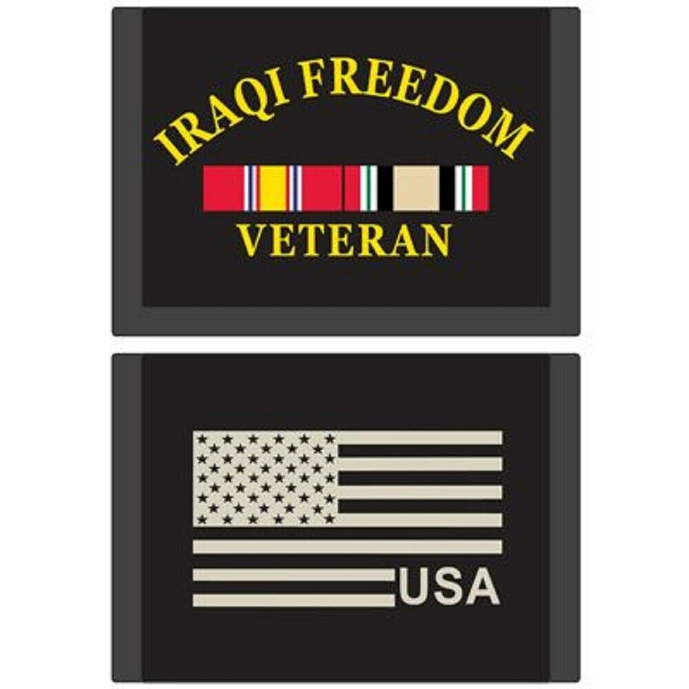 IRAQI FREEDOM Wallet, iraqi freedom VETERAN, USA Flag - Nylon Wallet - 3.5