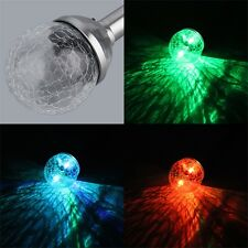 Solar Stake Stainless Steel Crackle Lawn Glass Ball LED Light Sun PowerHPG