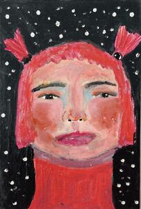Original Pink Hair Girl Painting Paper Art Snow Or Stars Katie Jeanne Wood
